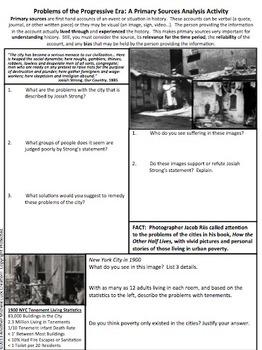 Problems of the Progressive Era Primary Source Analysis Activity CCSS