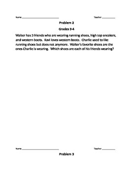 Problems of the week for grades 3-4