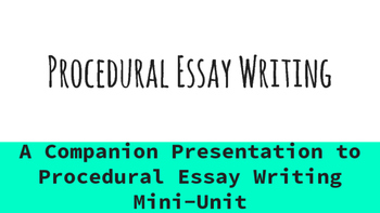 Procedural Essay Writing Presentation