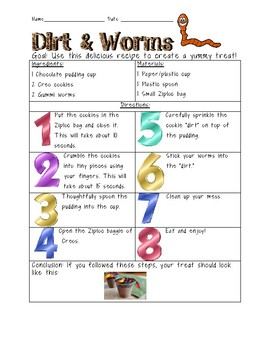 Procedural Text Activity - Dirt and Worms Recipe
