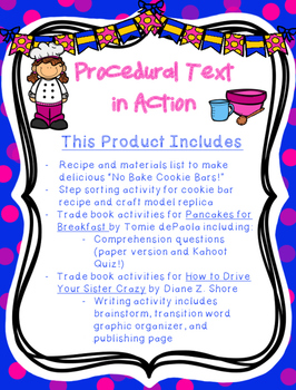 Procedural Text: Cookie Bar Recipe, Comprehension Lesson, and Writing Activity!
