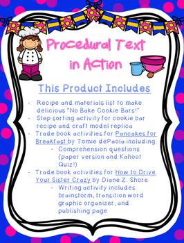 Procedural Text: Cookie Bar Recipe, Comprehension Lesson,