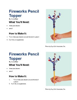 Procedural Text - Firework Pencil Topper with Questions