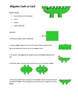 Procedural Text Game- Alligator Card Craft and Questions