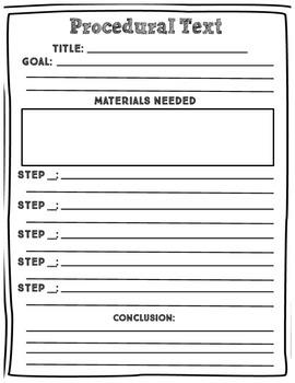 Procedural Text Graphic Organizer