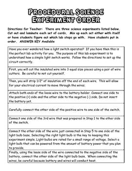 Procedural Text Sort (Science Edition)