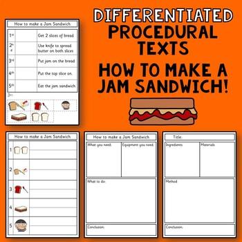 Procedural Text Writing Templates: How to make a Jam Sandwich.