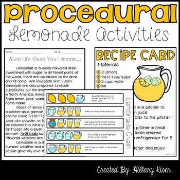 Procedural Text And Sequence Lemonade Themed Tpt