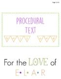 Procedural Texts Unit