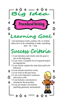 Writing Strategy Poster - Procedural Writing - Learning Goals, Success Criteria
