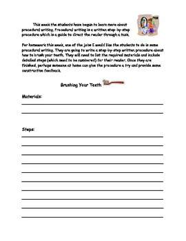 Procedural Writing - Brushing Your Teeth