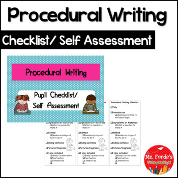 Procedural Writing Checklist/Self Assessment Freebie