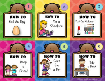Procedural Writing- How To Writing Prompt Mini Cards with Writing Templates