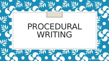 Procedural Writing Lesson