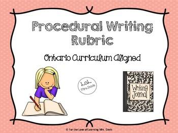 Procedural Writing Rubric (Ontario Curriculum Aligned)