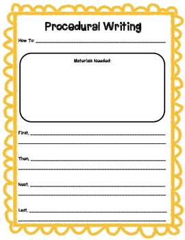 Procedural writing template by primary printables tpt for Written procedure template