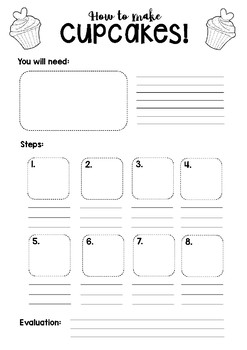 Procedural Writing Template: Cupcakes