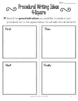 Procedural Writing Unit-Graphic organizers, lesson plans, rubrics and videoclips