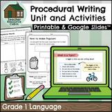 Procedural Writing Workbook   NO PREP (Grade 1 ONTARIO Writing)