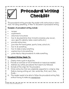 Procedural Writing Packet and Teaching Ideas