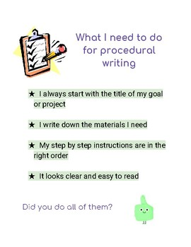Procedural writing checklist