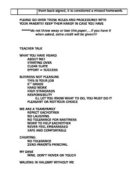 Procedure Guide Handout : How to survive in your class!