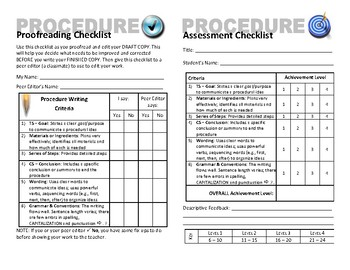 Procedure Plan, Proofreading & Assessment Checklists