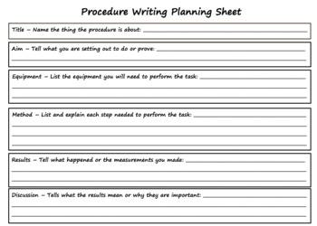 Procedure Writing Planning Sheet