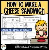 DIFFERENTIATED: Procedure Writing Template : How to make a cheese sandwich