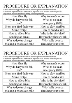 Procedure or Explanation