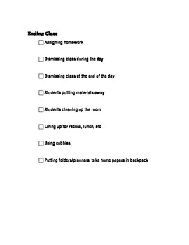 Classroom Procedures Check List