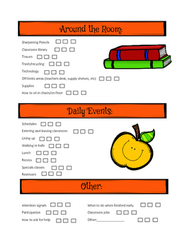 Procedures Checklist for beginning of the year
