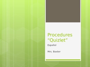 Procedures Quiz - Second Day of School