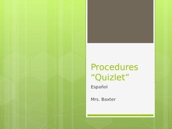 Procedures Quiz - Second Day of School