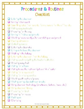 Procedures & Routines Checklist - Beginning of the Year