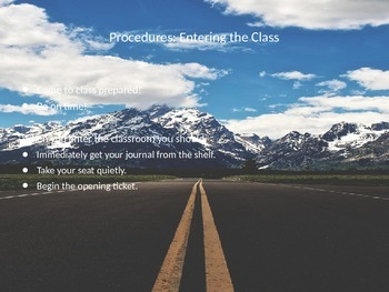 Procedures & Rules Overview Ppt. for First Week of School