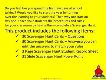 Procedures & Rules Scavenger Hunt for Middle School