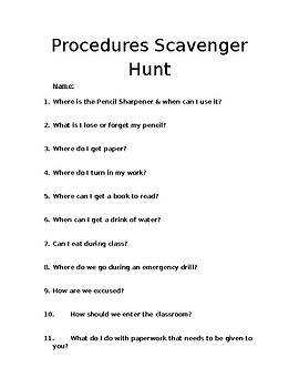 Procedures Scavenger Hunt