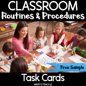 Classroom Procedures and Routines Task Cards {FREEBIE!}