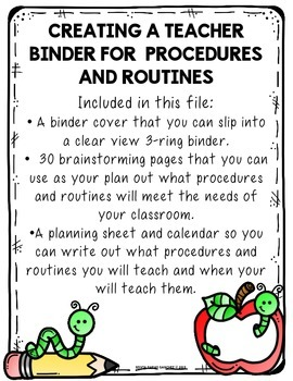 Procedures and Routines Teacher Binder