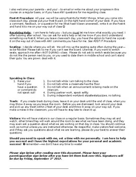 Procedures for High School Students - Editable Document!