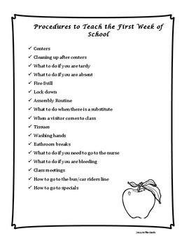 Procedures to Teach the 1st Week