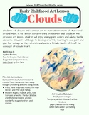 Process Art Lesson: Clouds Prek, Kinder, First, painting a