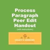 Process Paragraph Peer Edit Handout