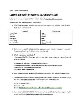 Processed & Unprocessed Food