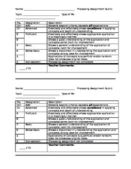 Processing Assignment - Rubric for Mini-Project