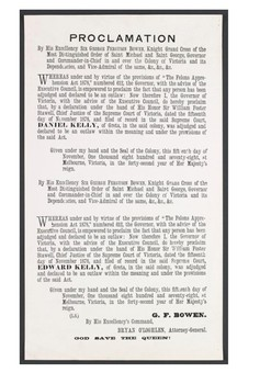 Proclamation by Governor George Bowen declaring Ned and Dan Kelly outlaws