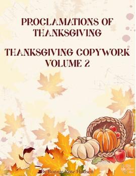Proclamations of Thanksgiving Copywork Volume 2