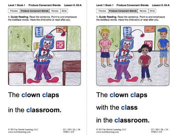 "Produce Consonant Blend ""Cl"": Lesson 6, Book 1 (Newitt Grade 1 Prereading)"