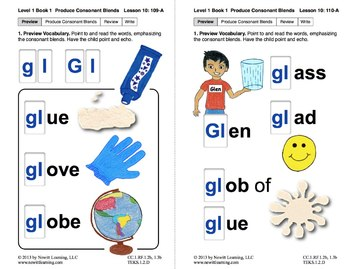 "Produce Consonant Blends ""Gl"" and ""Gr"": Lesson 10, Book 1 (Newitt Grade 1)"